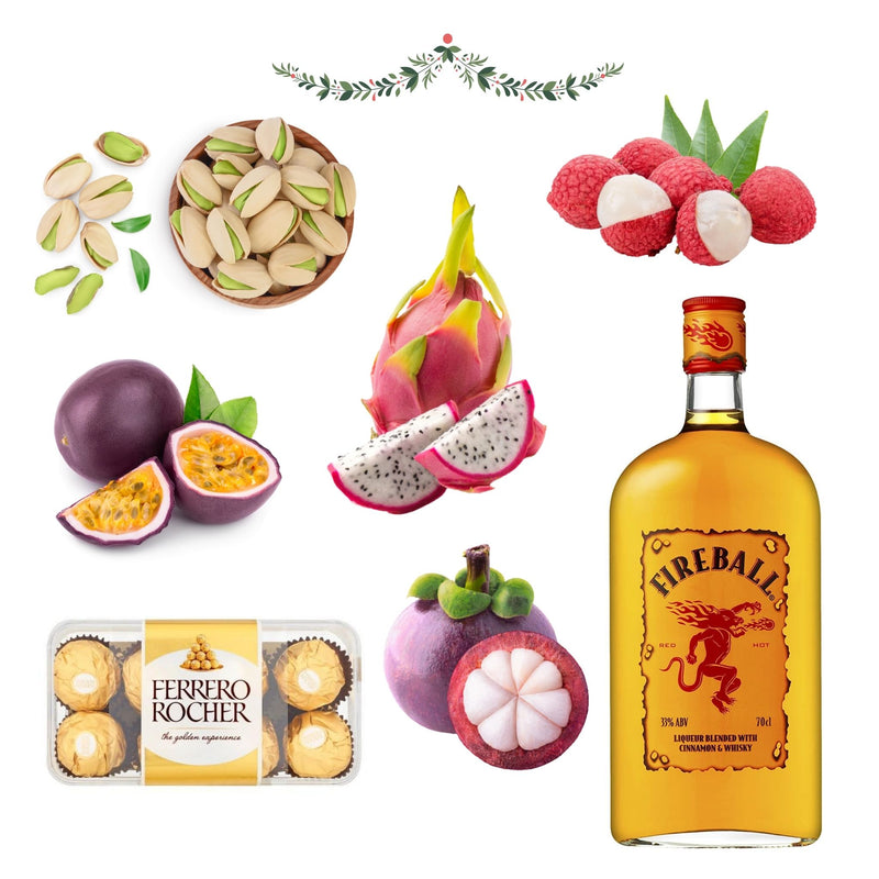 Cinnamon Whisky Liqueur, Chocolate & Exotic Fruit Christmas Hamper for Him - London Grocery