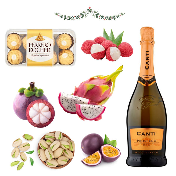 Prosecco, Chocolate & Exotic Fruit Christmas Hamper for Her - London Grocery - Online Grocery Shopping