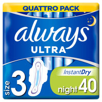 Always Ultra Night Sanitary Towels with Wings x 40 - London Grocery - Online Grocery Shopping