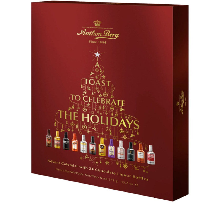 Anthon Berg - Chocolate Liqueurs - Advent Calendar with Famous Liqueur Brands - 24 bottles 375g - With a Delicious Liquid Filling - London Grocery