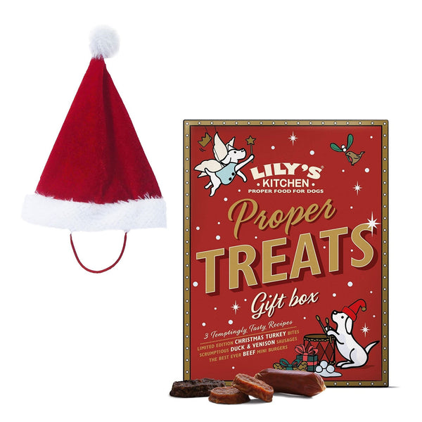 Santa Hat for Dogs & Christmas Treats / Perfect Christmas Hamper Set for Dogs - London Grocery - Online Grocery Shopping