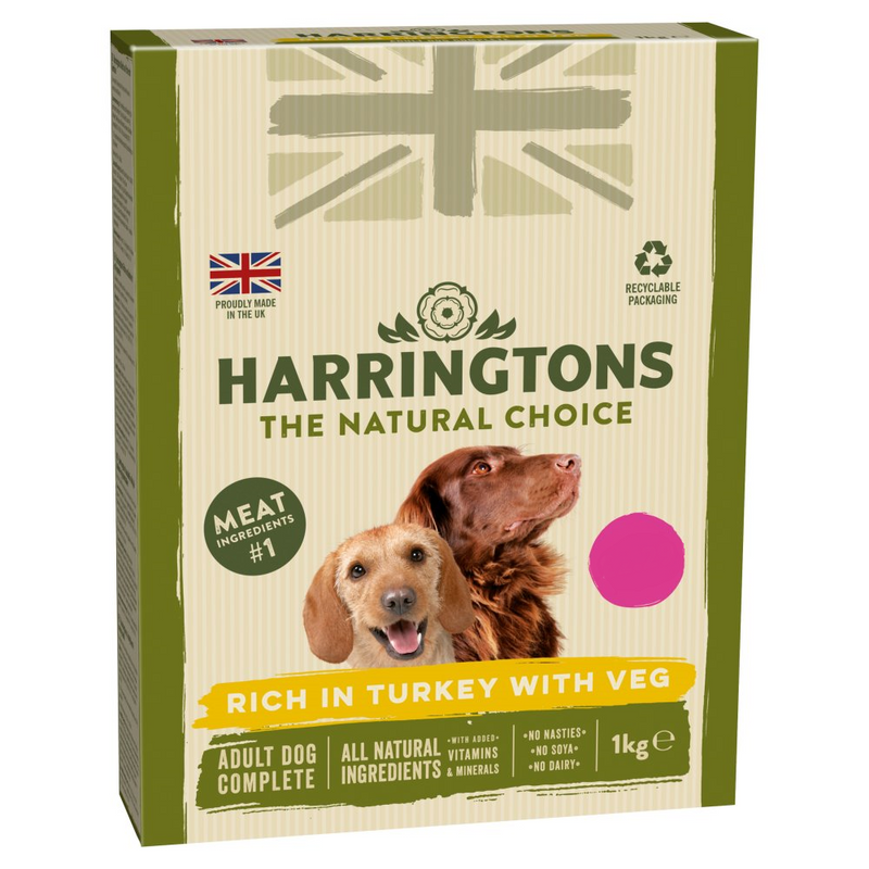 Harringtons Rich in Turkey with Veg Complete Dry Adult Dog Food 1kg - London Grocery