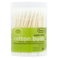 Pretty 100 Paper Stem Cotton Buds - London Grocery - Online Grocery Shopping