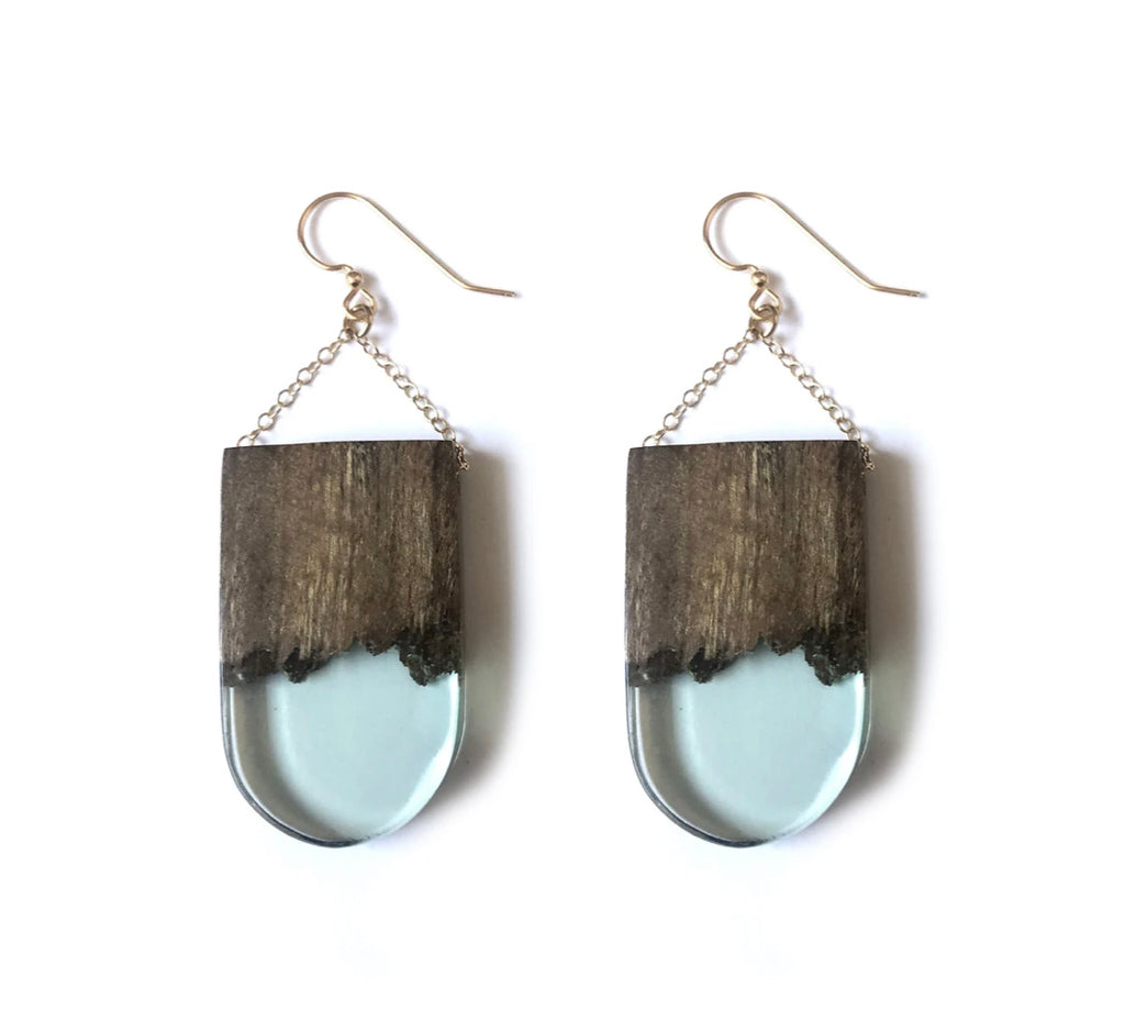Wood Resin U Earring