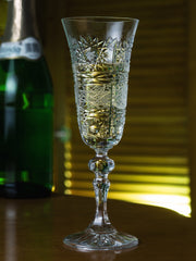 European Cut Crystal Champagne Toasting Flute Glasses - Wedding -4.5 Oz. - Set of 6