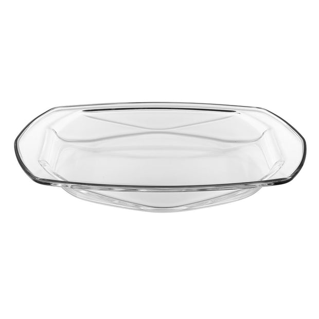 European Lead Free Crystalline Oven To Table Dishes - Set / 2- Can be used Directly from heating the food in oven to serve on table - (Cover and base can be used as separate Serving Trays) Large