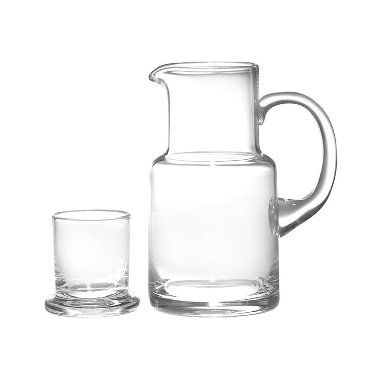 European Lead Free Crystalline 2 Pc Water Set -Bedside Carafe - Desktop - W/ Tumbler - W/ Handle - 20 Oz.