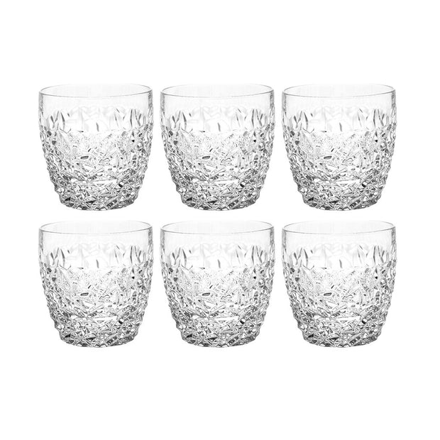 European Crystal Double Old Fashioned Tumblers - Fully Designed - For Whiskey - Bourbon - Water - 12 Oz. - Set of 6