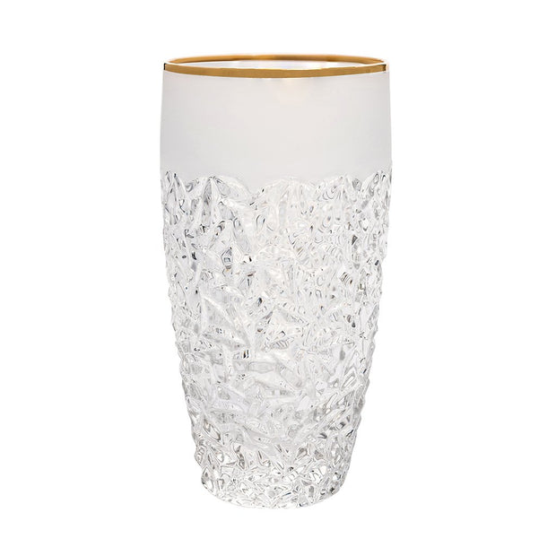 European Crystal Highball Tumblers - Raindrop Design W/ Frosted Border & Gold Rim - 16 Oz. -Set of 6