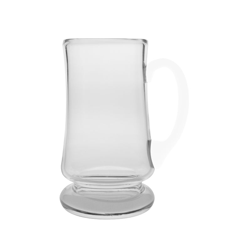 European Handmade Lead Free Crystalline Large Clear Mug - W/ Opal Handle & Frosted Base -20 oz.