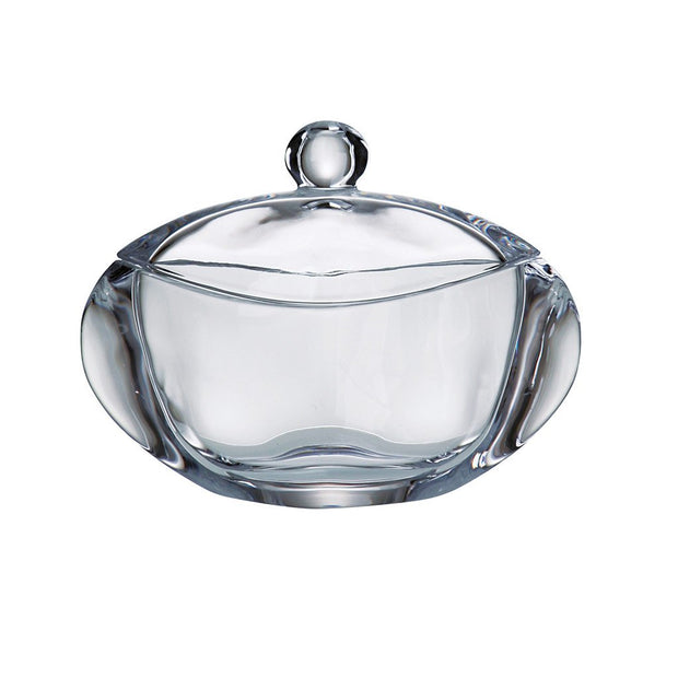 "European Lead Free Crystalline Oval Covered Candy / Jewelry Box - 7"" Length"