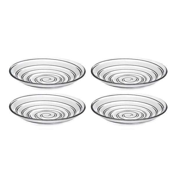 "European Lead Free Crystalline Glass Soup Bowl / Dessert Plate - Set of 4 Plates - Designed - 8.2"" Diameter"