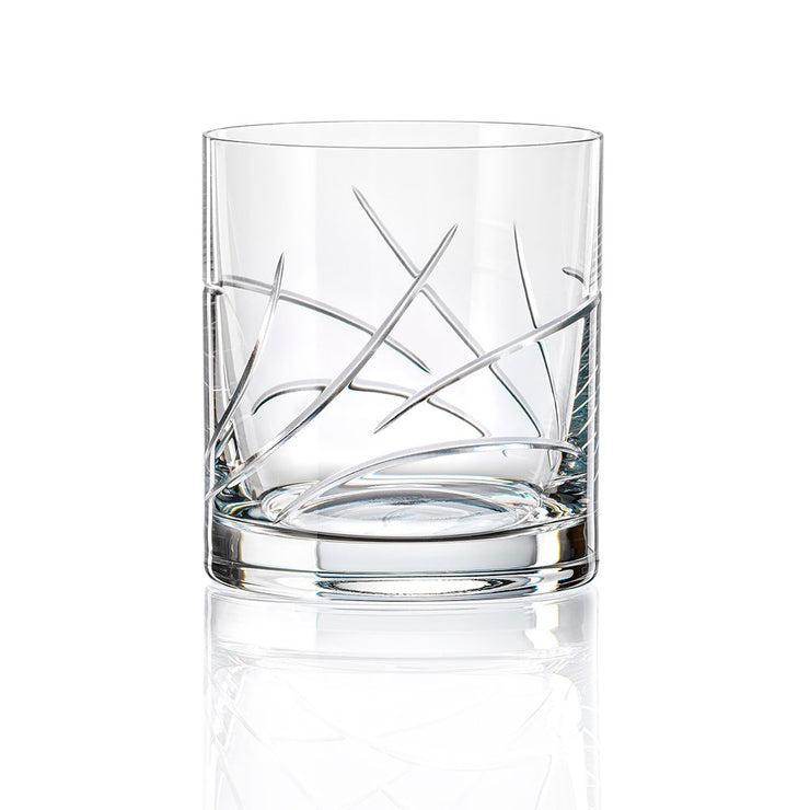European Lead Free Crystalline Double Old Fashioned Tumblers - Rocks Glass - Bourbon - Scotch - Whiskey - Cognac - 12 Oz. - Set of 4