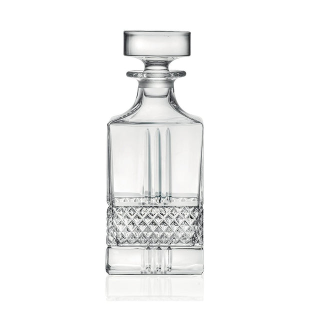 "European Lead Free Crystalline Square Whiskey Decanter - Liquor - Vodka - Wine - W/ Stopper - 29 oz. - 9"" Height"