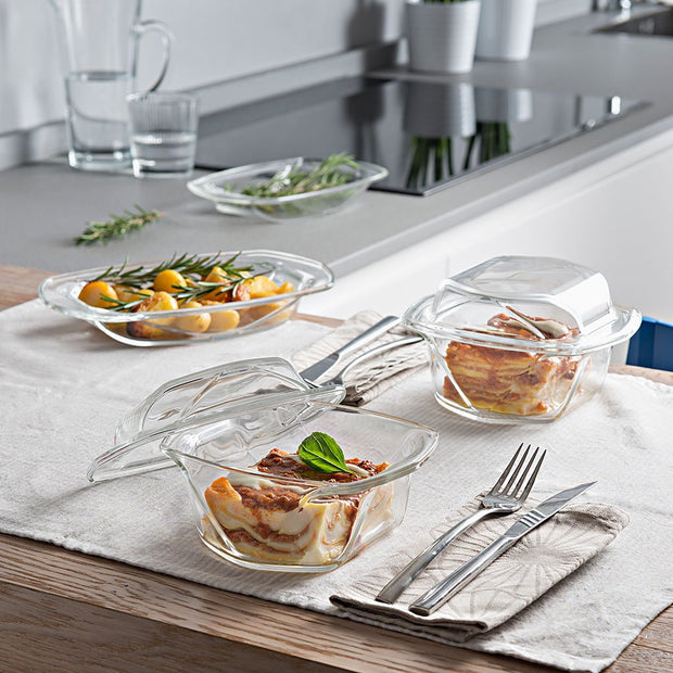 European Lead Free Crystalline Oven To Table Dishes - Set / 2- Can be used Directly from heating the food in oven to serve on table - (Cover and base can be used as separate Serving Trays) Small