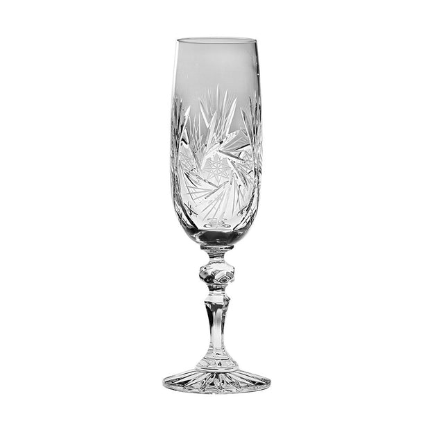 European Cut Crystal Champagne Flutes - Artistically Designed - 7 Oz.- Set of 4
