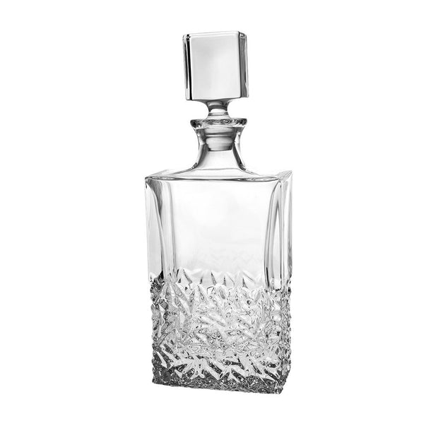 "European Crystal Rectangular Shaped Whiskey Decanter - Liquor - Vodka - Wine - W/ Stopper - Raindrop Design-  25 oz. - 12"" Height"