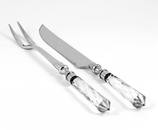 "European Carving 2 Piece Set - Knife 14"" Long - Two Tined Fork 13"" Long - Crystal Handle - Beautiful Gift Box"