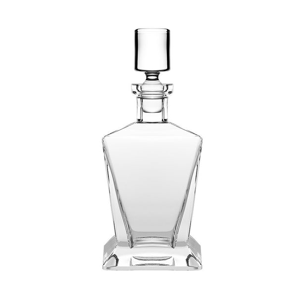European Lead Free Crystalline Square Whiskey Decanter - Liquor - Vodka - Wine - W/ Stopper - W/ Nice Square Base -  25 oz.
