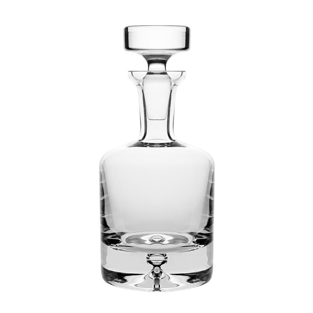 European Lead Free Crystalline Round Whiskey Decanter - Liquor - Vodka - Wine - W/ Stopper - W/ Bubble Base -  25 oz.