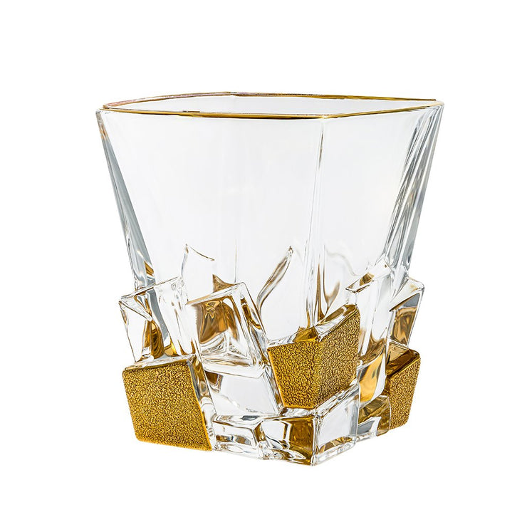 European Crystal Square Shaped Double Old Fashioned Tumblers - W/ Matte Gold Ice Cubes Design - 11.7 Oz. - Set of 6