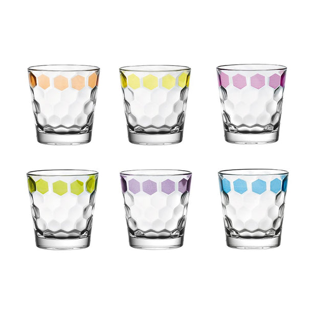 European Lead Free Crystalline Tumbler W/ Hand Painted Dots on Each Glass- Assorted Colors - 12.5 Oz. - Set of 6