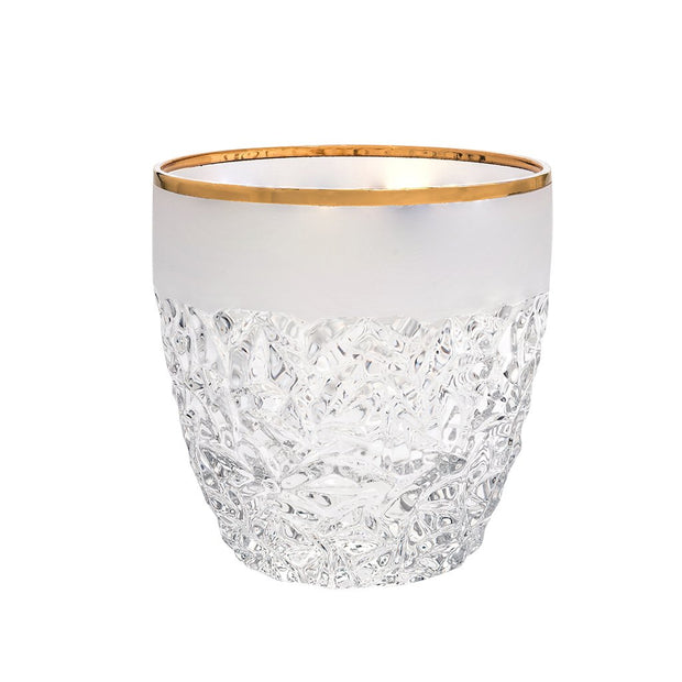 European Crystal Double Old Fashioned Tumblers - W/ Frosted Crack Design & Gold Band - 12 Oz. - Set of 6