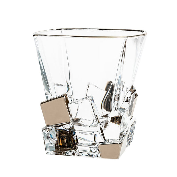 European Crystal Square Shaped Double Old Fashioned Tumblers - W/ Platinum Ice Cubes Dsign - 11.7 Oz. - Set of 6