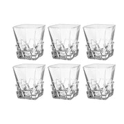 European Crystal Square Shaped Double Old Fashioned Tumblers - W/ Ice Cubes Dsign - 11.7 Oz. - Set of 6