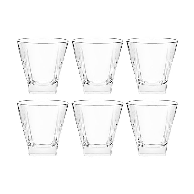 European Lead Free Crystalline Square Double Old Fashioned Tumbler - Uniquely Designed - 12 Oz. - Set of 6