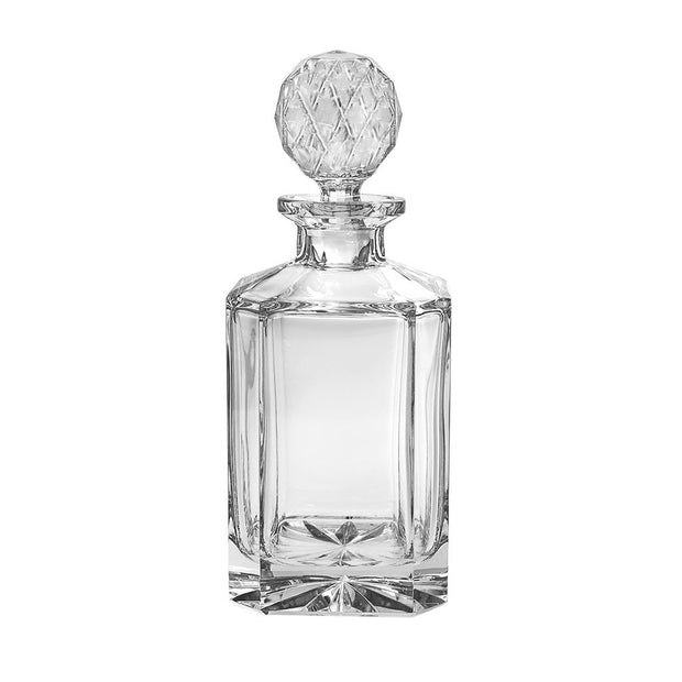 "European Lead Free Crystalline Whiskey - Liquor Square Shaped Decanter - 30 Oz. - 10"" Height"