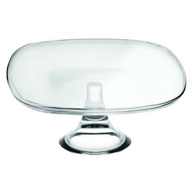 "European Lead Free Crystalline Footed Square Cake Plate - 9.8"" Square"