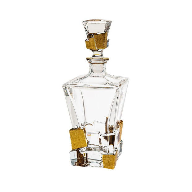 "European Crystal Whiskey - Liquor Square Shaped Decanter W/ Ice Cube Design In Matte Gold - 28 Oz. - 11.25"" Height"
