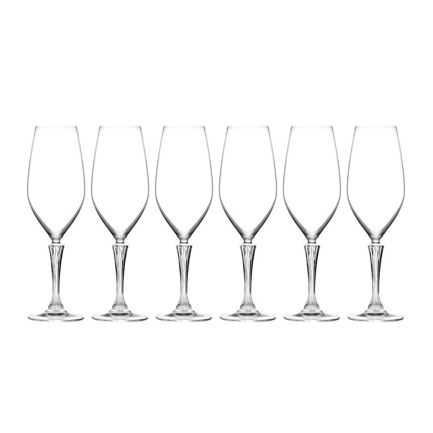 European Lead Free Crystalline Wedding Champagne Flute Glasses  - Glass Is Clear W/ Designed Stem -14 oz, Set of 6