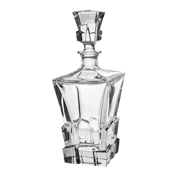 "European Crystal Whiskey - Liquor Square Shaped Decanter W/ Ice Cube Design - 28 Oz. - 11.25"" Height"