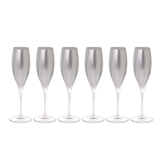 European Lead Free Crystalline Wedding Champagne Flute Glasses  - Silver Decorated , 11 oz. - Set of 6