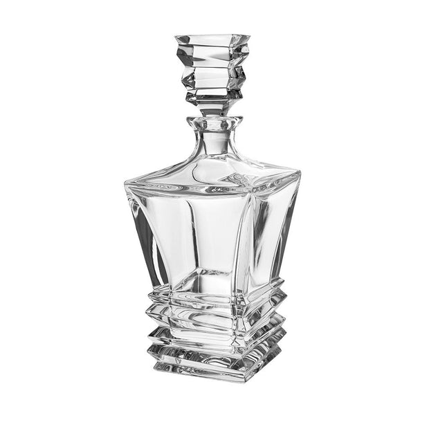 "European Crystal Whiskey - Liquor Square Shaped Decanter W/ Layered Glass Design - 28 Oz. - 11.5"" Height"