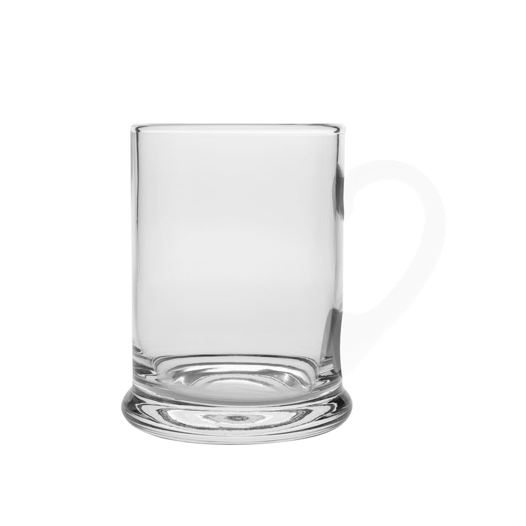 European Handmade Lead Free Crystalline Large Clear Mug W/ Base - Juice Cup - W/ Opal Handle - 24 oz.