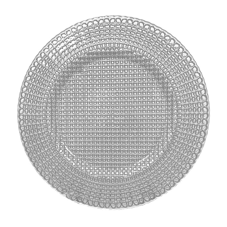 "European Lead Free Crystalline Silver Charger -Beautifully Designed , 12.5"" Diameter - Set of 6"