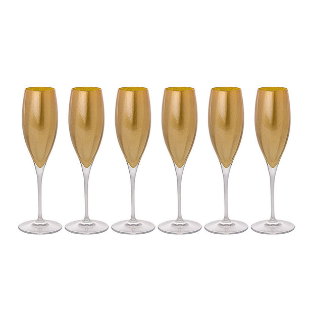 European Lead Free Crystalline Wedding Champagne Flute Glasses  - Gold Decorated , 11 oz. - Set of 6