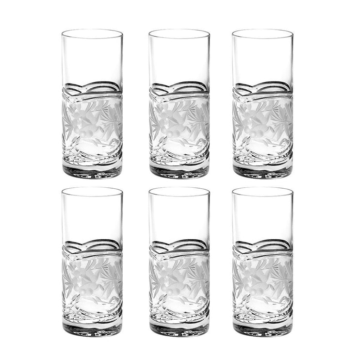 European Crystal Highball Glasses - Drinking Tumblers - For Water , Juice, Wine, Beer &  Cocktails - 16 oz. -Set/6