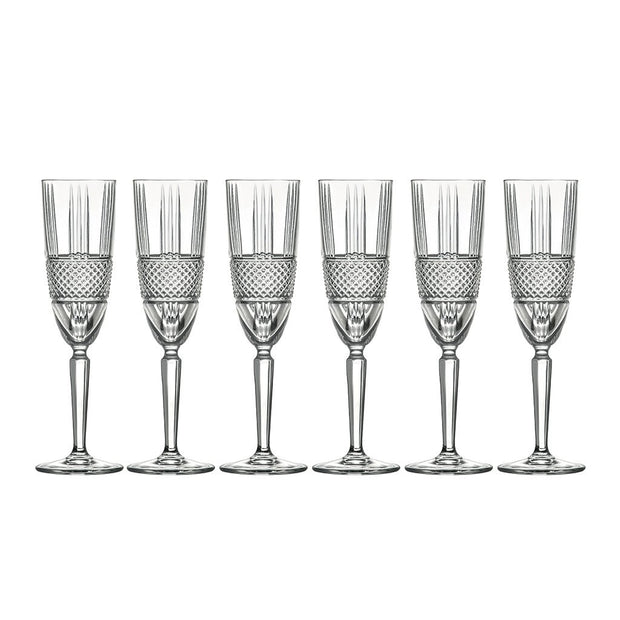 European Lead Free Crystalline Wedding Champagne Flute Glasses  - Glass Has Thick Border Design - 6 oz. - Set of 6