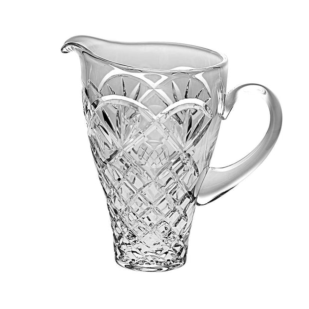 "European Cut Crystal Decorative Pitcher - W/ Handle -36 Oz.- 9.1"" Height"