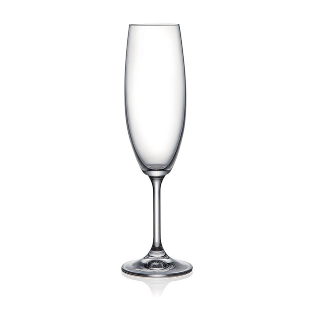 European Lead Free Crystalline Wedding Champagne Flute Glasses  - Gift Boxed - 9 oz. - Set of 6