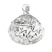 "European Hand Cut Crystal Candy / Jewelry Box With Cover - Round - 4.3"" Diameter - Beautiful Gift Box"