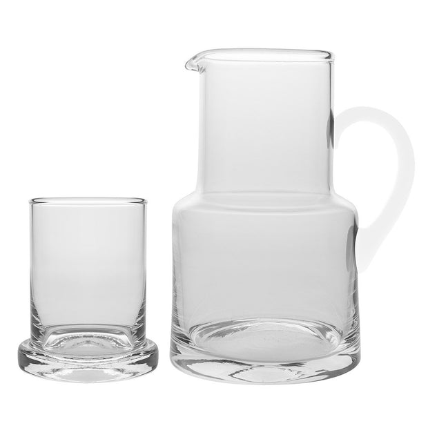 European Lead Free Crystalline 2 Pc Water Set -Bedside Carafe - Desktop - W/ 6 OZ. Tumbler - W/ Opal Handle - 22 Oz.