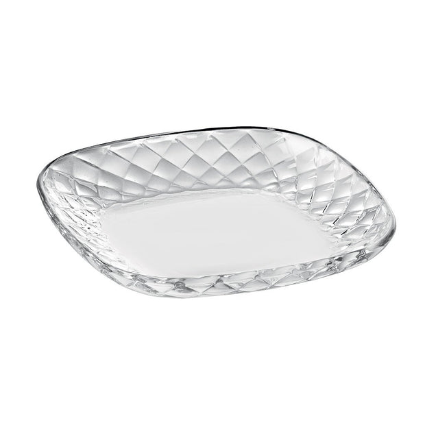 "European Lead Free Crystalline Square Salad Dessert Plate -Clear - 7"" Diameter - Set of 6"