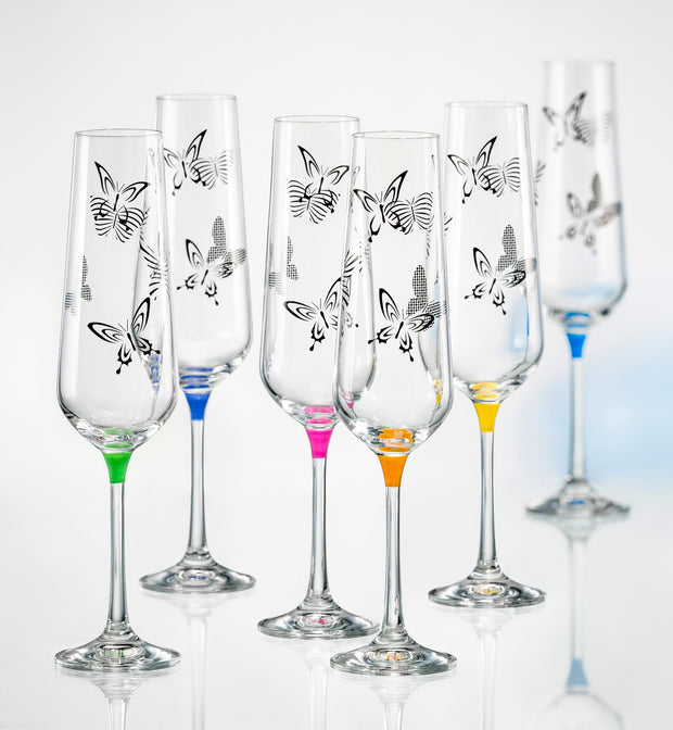 European Lead Free Crystalline Wedding Champagne Flute Glasses  - Gift Boxed - W/ Butterfly Imprint - Assorted Colour Stem - Set of 6 - 9 oz.