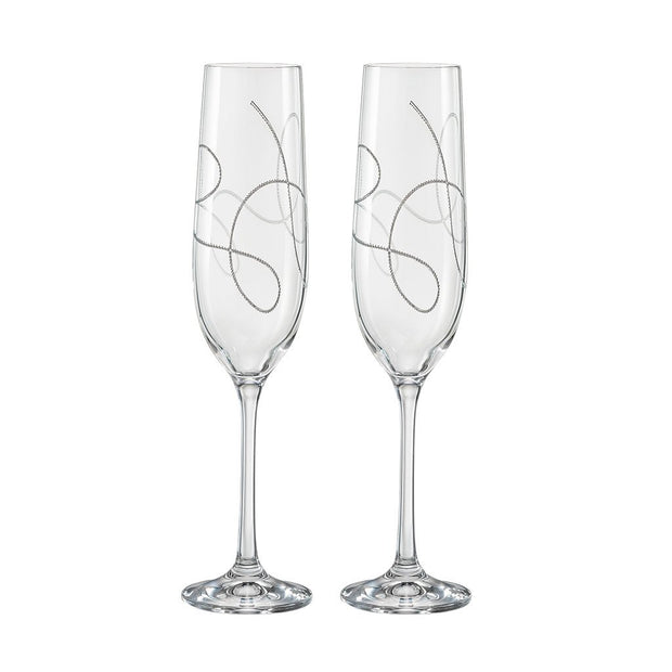 European Lead Free Crystalline Wedding Champagne Flute Glasses  - Gift Boxed - W/ String Design - 9 oz. - Set of 2