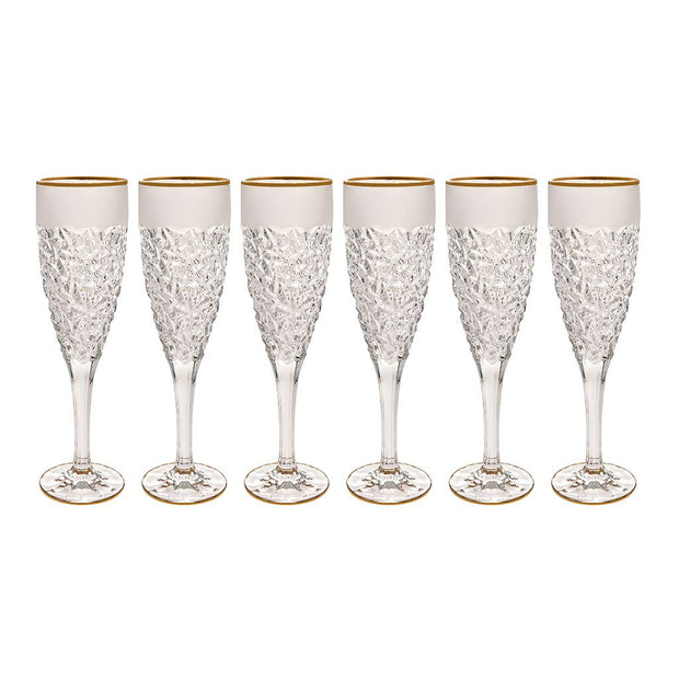 European Lead Free Crystalline Wedding Champagne Flute Glasses  -  Raindrop Design W/ Frosted Border & Gold Rim - 8 oz. - Set of 6